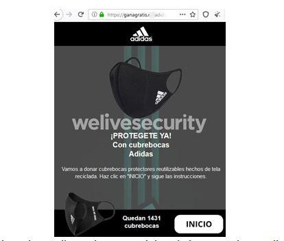 celestial me quejo Ojalá  ESET identifica engaño vía WhatsApp que hace creer que Adidas está  regalando tapabocas – CambioDigital OnLine